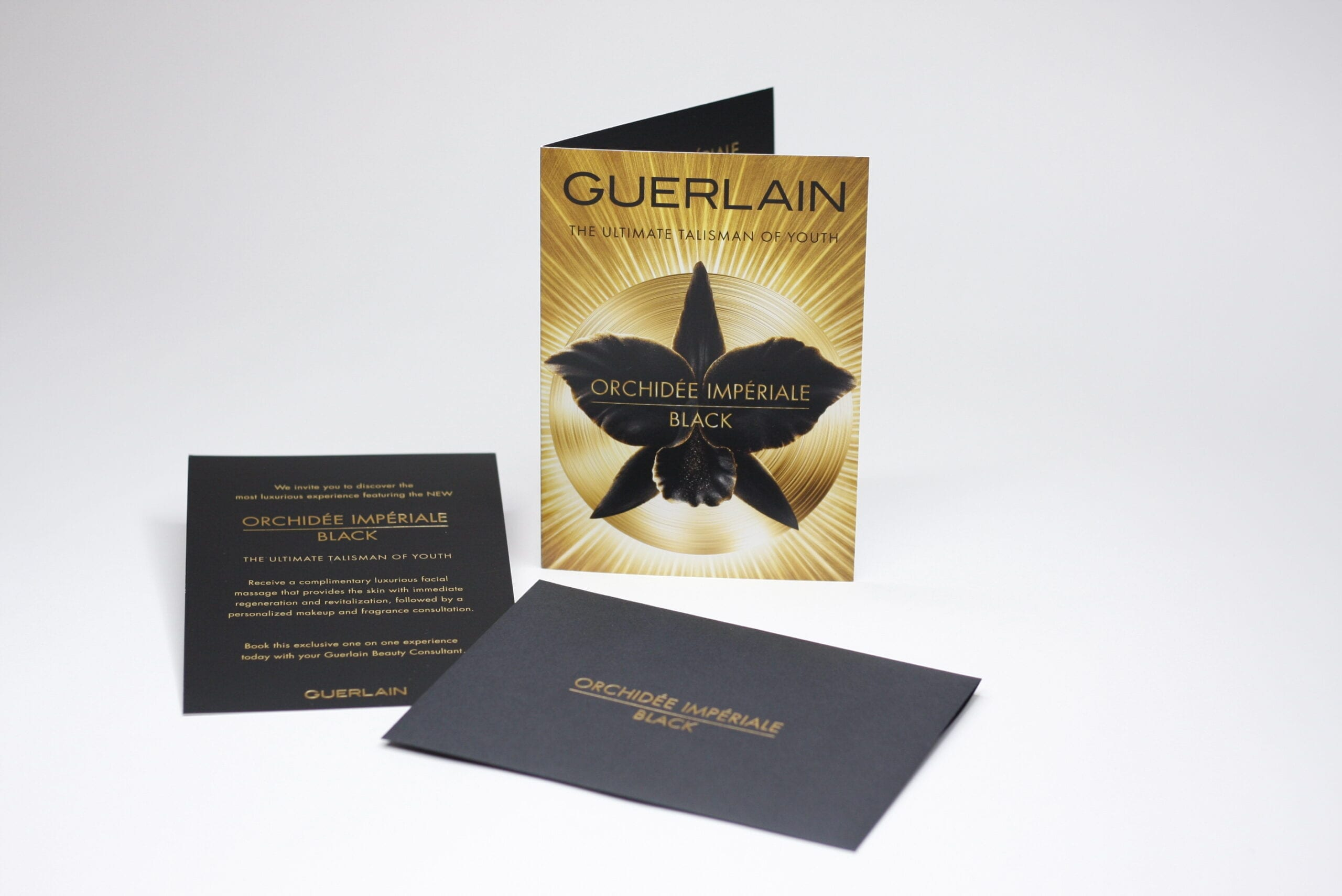 Whatever your brand needs to present information to customers while still maintaining a luxurious feel, like this custom printed information booklet and promotional  invitation featuring a custom foil stamped envelope.