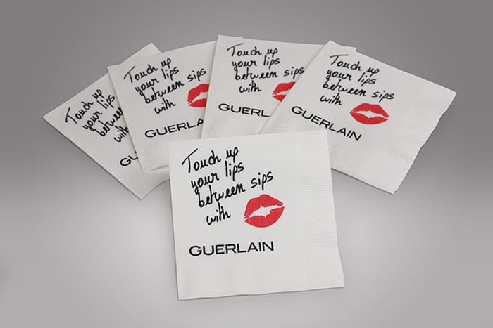Custom napkins, like these we printed for a client, are a creative way to add flair to any event with the added bonus of increased brand awareness in using every available merchandising platform.