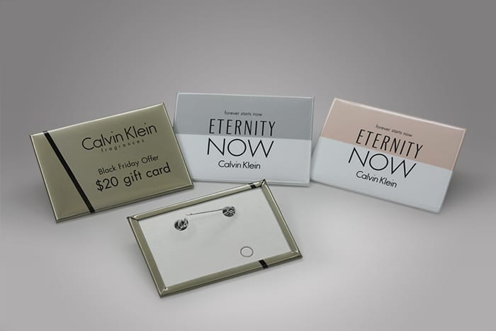 Custom pins are a great way to put your brand and product at eye level, creating a new opportunity for marketing in retail settings. PPD&G can custom make branded pins, name tags, or badges to showcase your brand and optimize your marketing strategy.