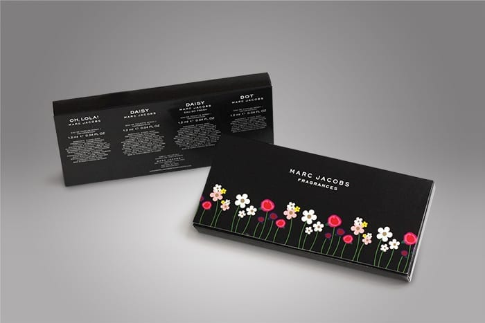 This classic envelope style vial packaging we manufactured for a client features a simple floral print on front and informative literature on the back to keep consumers educated on your product.