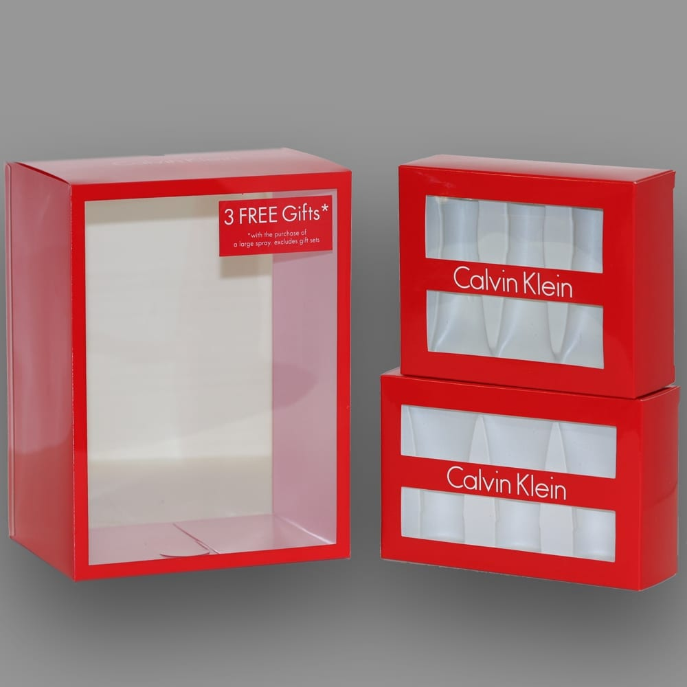 These custom folding boxes featuring a transparent front also utilize a custom VAC form insert to neatly present products with excellent shape and design.