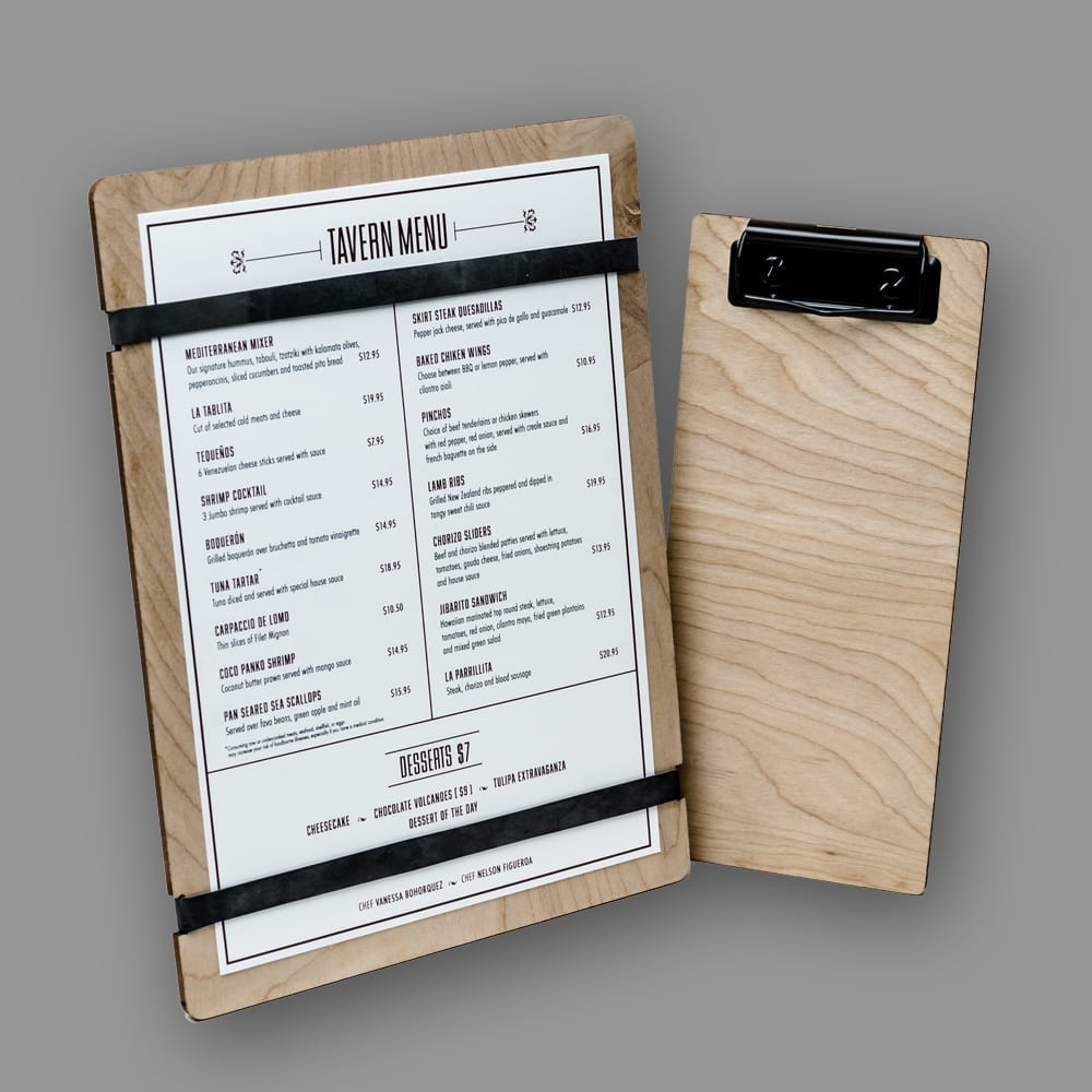 PPD&G can help take your business to the next level by helping you use every available merchandising platform with custom items, like these laser etched wooden menu boards and custom branded check presenters that are both functional and beautiful.