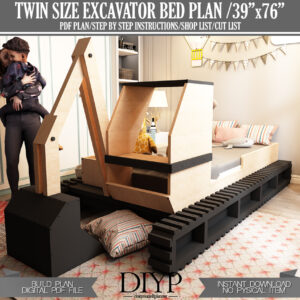 Easy Bed Plans for boys,twin size bed plan,Excavator Bed plans for child,Make bed for boys,Diy Bed Plans,Toddler bed frame