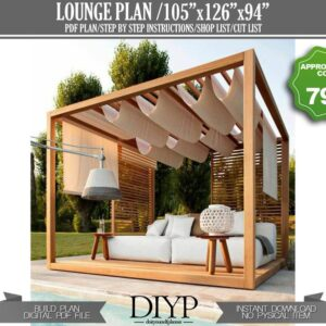 Pergola plan for backyard or pool - Outdoor seating - Gazebo plan - outdoor lounge - covered patio