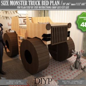 Diy Bed Plans for kids,Beatiful monster truck bed frame,Cnc cut files,Cheap kids bed,Toddler bed plans,Boys bed plan