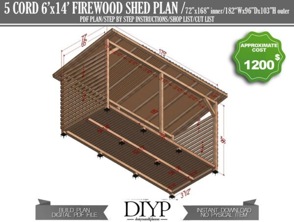 5 cord shed,diy shed plans, shed plans, storage shed, how to build a shed, lean to shed plans, firewood shed plans, firewood storage, simple shed plans, diy plans, woodworking plans,