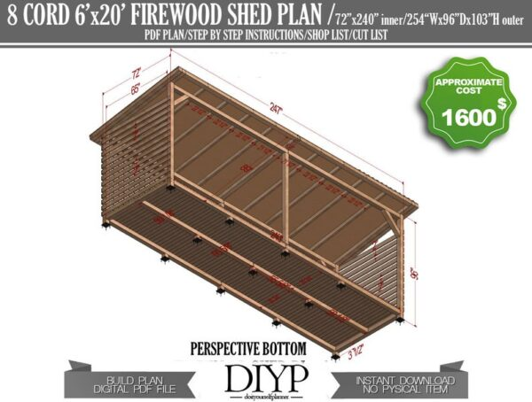 diy shed plans, shed plans, storage shed, how to build a shed, lean to shed plans, firewood shed plans, firewood storage, simple shed plans, diy plans, woodworking plans, 4 cord shed plans