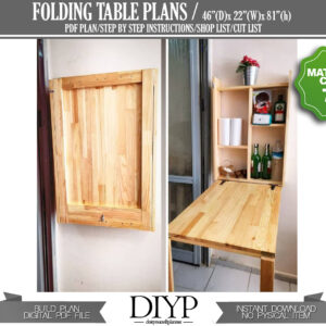 Storage unit with foldable table, Wall mounted table, Fold down desk, Drop leaf table, space saving furniture, Fold down shelf, Floating table, Garden wall bar, Dining table, build plan pdf, woodworking plans