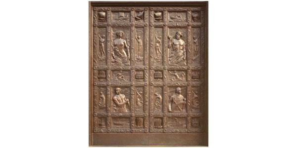 Bronze Doors: Bronze Herbert C. Adams Site: Business entrance to The Mariners' Museum, 100 Museum Drive