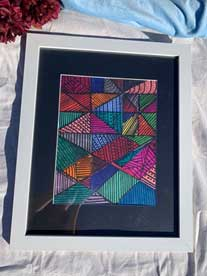 Abstract Triangles Painting in white frame 18x22