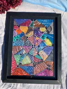 Abstract Triangles Painting in black frame 18x22