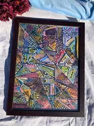 Abstract shapes in Brown frame 17x22