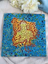 8x10 abstract sunflower with mosaic