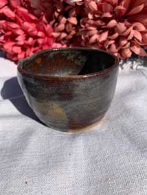 "Ceramic Bowl Antique Dark Brown 2.5"" tall 3.5"" diamete"
