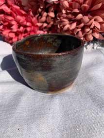 """Ceramic Bowl Antique Dark Brown 2.5"""" tall 3.5"""" diamete"""
