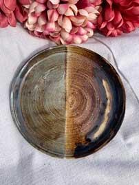 "Ceramic Plate half moon dish 6.5 "" diameter"