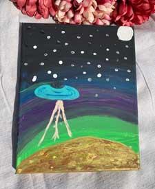 Painting UFO Landing on Venus 8 x 10