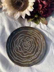 "Brown swirl ceramic plate 7"""