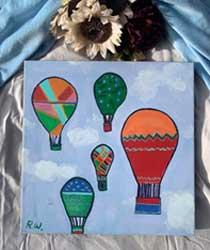 Colorful hot air balloon 18x18 $45