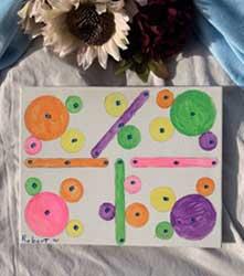 Painting Bright jeweled circles 11 x 14