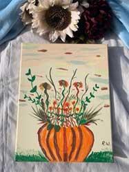 Painting Pumpkin flower scene 11 x 14