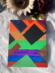 Painting Mini colored abstract shapes 8 x 10