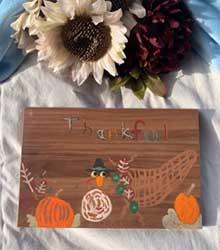 Thankful turkey painting on finished wood