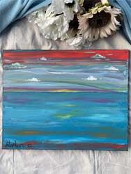 Sunrise color swirl painting 16 x 20