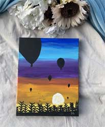 Painting sunset hot air balloons 11 x 14