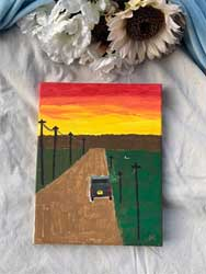 painting driving into the sunset 11 x 14