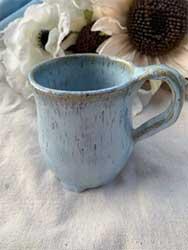 """ceramic mug light blue 4"""" tall 3.5"""" opening"""