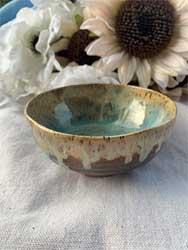 """ceramic bowl antique blue green 5"""" diameter"""