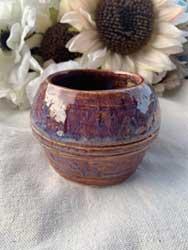 "ceramic vase purple red 3.5"" tall 4""diameter 3"" opening"