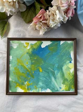 Yellow/blue escape abstract acrylic in brown frame 11x14