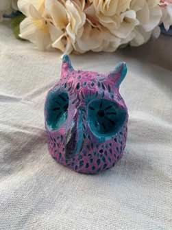 "Textured Clay Owl Sculpture Blue & Purple 3.5"" High"