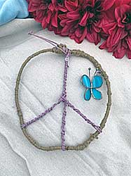Butterfly peace sign wall hanging