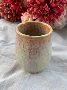 "Ceramic Cup Antique Green 5"" tall x 3.5"" diameter. 3"" opening."