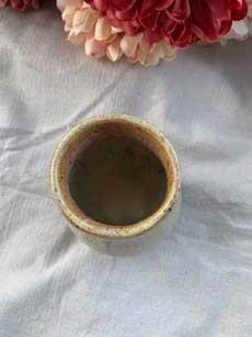 "Ceramic Cup Antique Green 5"" tall x 3.5"" diameter 3"" opening."