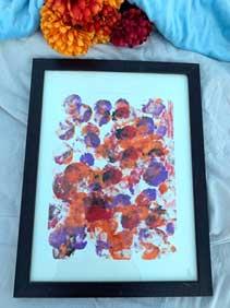 Orange & purple abstract sponge painting