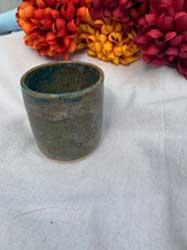 """Blue antique stone ceramic cup 3"""" diameter"""