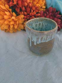 White drip ceramic cup