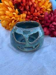"Ceramic candle holder Pumpkin Face 3"" diamter"