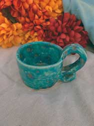 """Blue ceramic cup with fancy handle 3"""""""