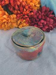 """Ceramic pot with lid 4"""" diameter"""