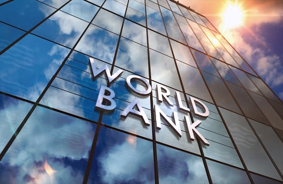 World Bank on glass building. Mirrored sky and city modern facade. Global capital, business, finance, economy, banking and money concept 3D rendering illustration.