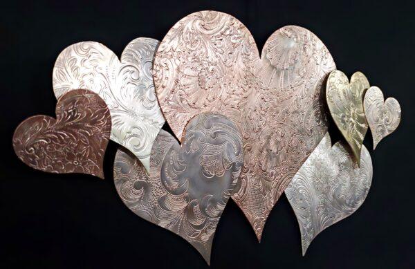 Copper Silver Heart Wall Art