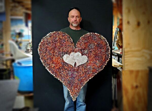 Large Copper Silver Heart Wall Art