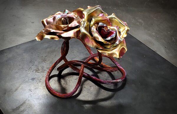 colorful gold copper rose sculpture