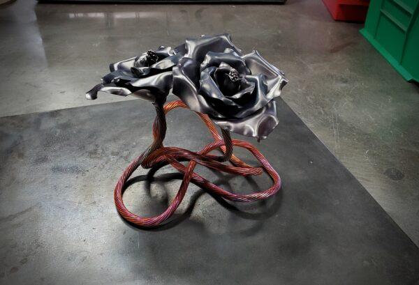 Carbon Gray Copper Rose Sculpture