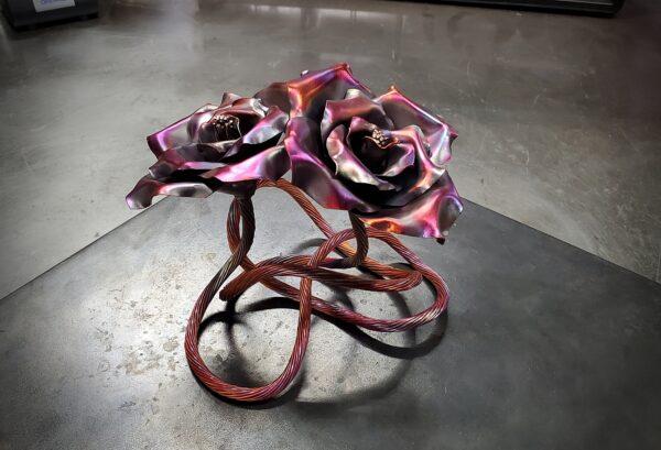 Red Flamed Copper Rose Sculpture